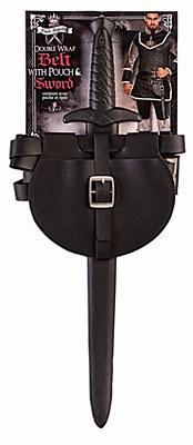 Medieval Belt Pouch And Sword Set - Black