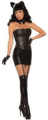 Vinyl Black Garter Mini Skirt