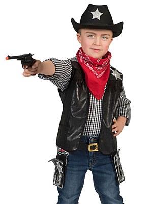 Cowboy Child Distressed Black Vest