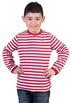 Red And White Striped Long Sleeve Child Unisex Shirt