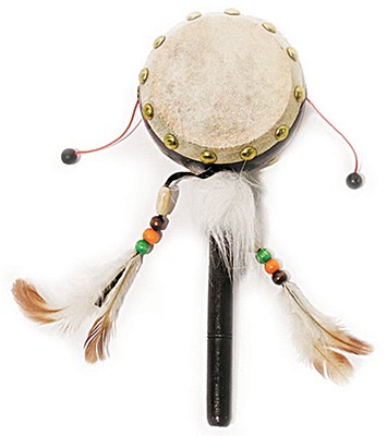 Indian Drum With Feathers