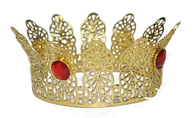 Mini Gold Crown With Red Jewel Accents