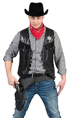 Cowboy Men's Distressed Black Vest