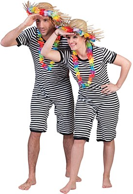 Old Fashioned Striped Adult Bathing Suit
