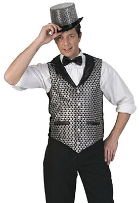Glitter Dot Adult Vest - Silver & Black