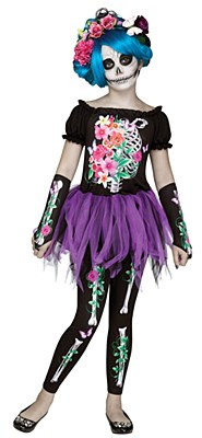 Beautiful Bones Skeleton Girl Child Costume