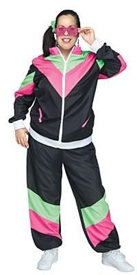 80's Women's Plus Track Suit Adult Costume