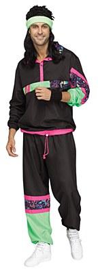 80's Men's Plus Track Suit Adult Costume