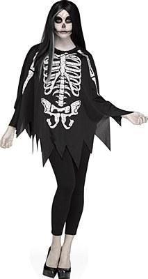 Skeleton Poncho Adult Costume