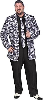 Skull Men's Plus Jacket And Tie Set