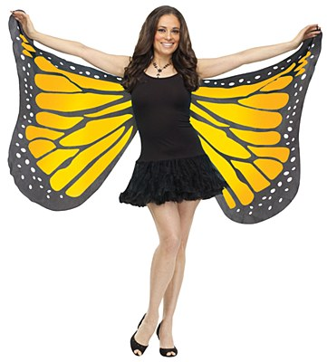 Orange Butterfly Fabric Adult Wings