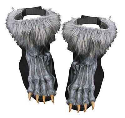 Werewolf Grey Furry Foot Shoe Covers