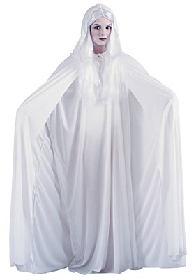 Full Length Hooded White Adult Cape