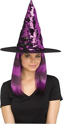 Flip Color Sequin Witch Hat - Purple