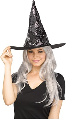 Flip Color Sequin Witch Hat - Silver