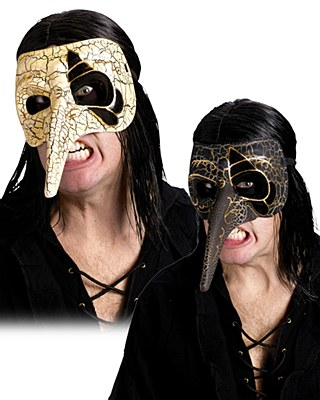 Venetian Beak Crackle Black Raven Mask