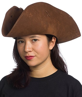 Distressed Brown Deluxe Pirate Hat