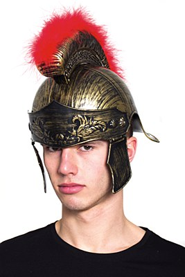 Roman Feather Brush Gold Helmet