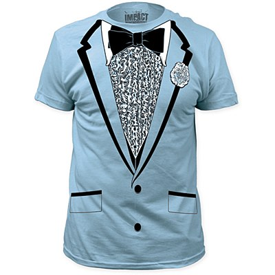 Retro Blue Tuxedo Men's Plus T-Shirt