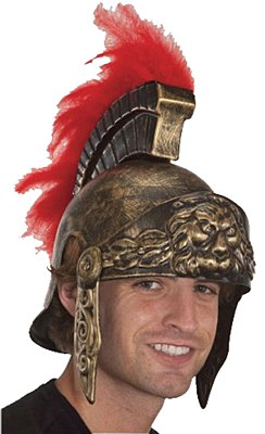 Roman Red Feather Brush Gold Helmet