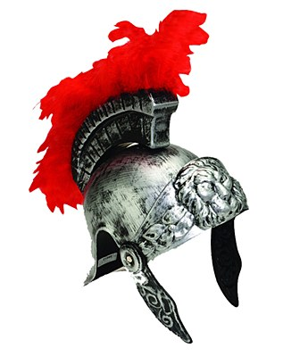 Roman Red Feather Brush Silver Helmet