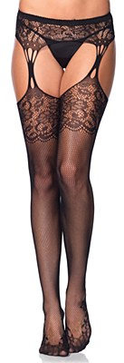 Fishnet Lace Top Stocking And Garter Belt