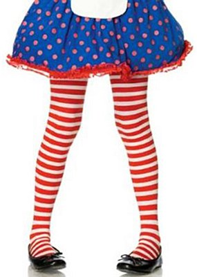 Red And White Striped Child Tights