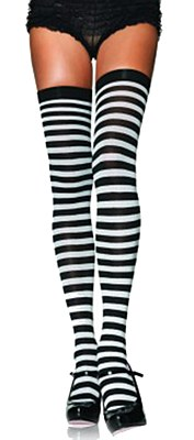 Black And White Thigh High Striped Stockings