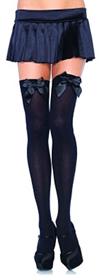 Opaque Black Thigh High And Satin Bow Stockings