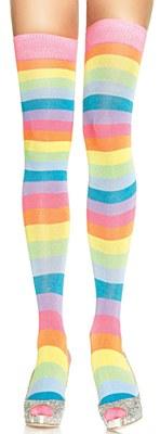 Striped Neon Rainbox Thigh High Stockings