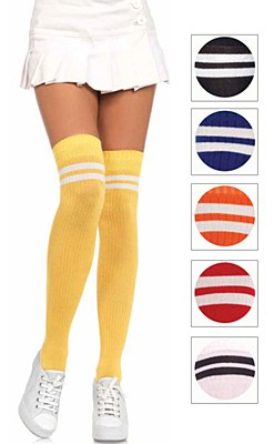 Athletic Stripe Top Thigh High Socks - Black And White