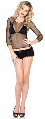 Black Fishnet Long Sleeve Shirt