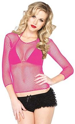 Neon Pink Fishnet Long Sleeve Shirt