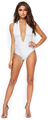 Shimmer Sequin Plunging Halter Snap Cotch White Bodysuit