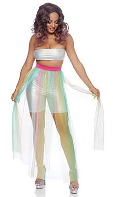 Sheer Multi Slit Long Multicolor Skirt