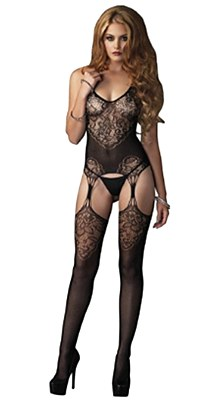Jacquard Lace And Net Bodystocking