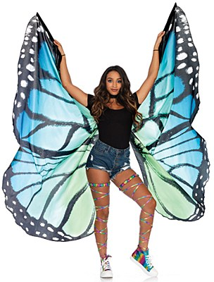 Festival Blue Butterfly Fabric Wings Cape