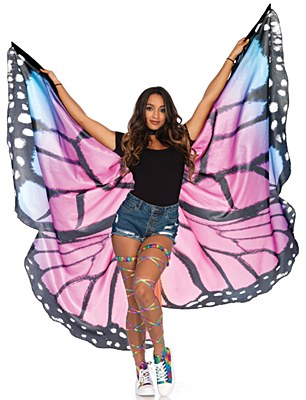 Festival Purple Butterfly Fabric Wings Cape