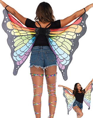 Rainbow Butterfly Fabric Wings Cape