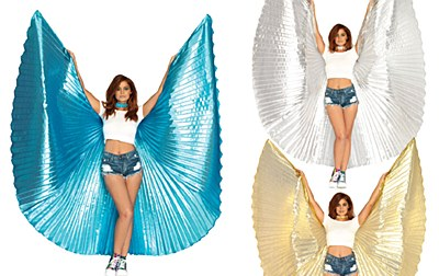 Festival 360 Degrees Blue Metallic Pleated Wings Cape
