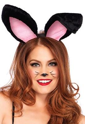 Plush Black And Pink Bunny Ears Headband