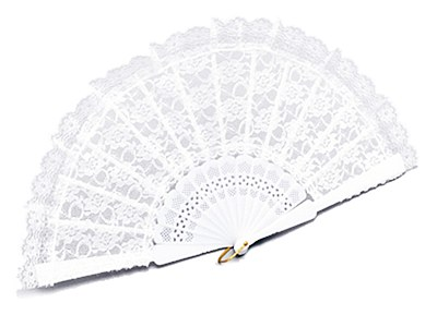 "Fan 9"" White Lace"