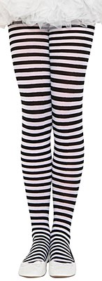 Black And White Striped Child Tights