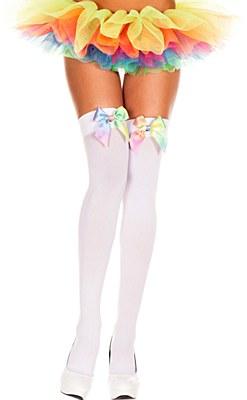 Rainbow Satin Bow White Thigh High Stockings