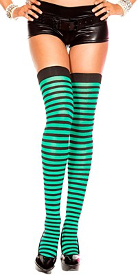 Striped Green And Black Thigh High Stockings