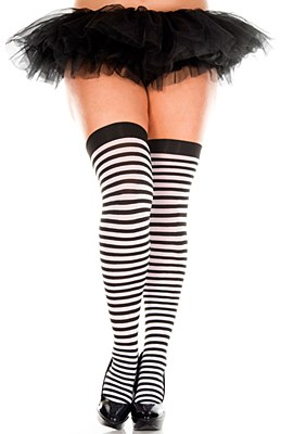 Striped Black And White Thigh High Plus Stockings