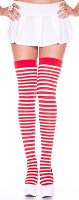 Striped Red And White Thigh High Stockings