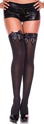 Satin Bow Opaque Thigh High Stockings - Black