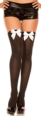 Satin Bow Opaque Thigh High Stockings - Black And White