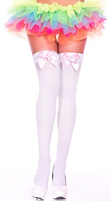 Satin Bow Opaque Thigh High Stockings - Pink And White
